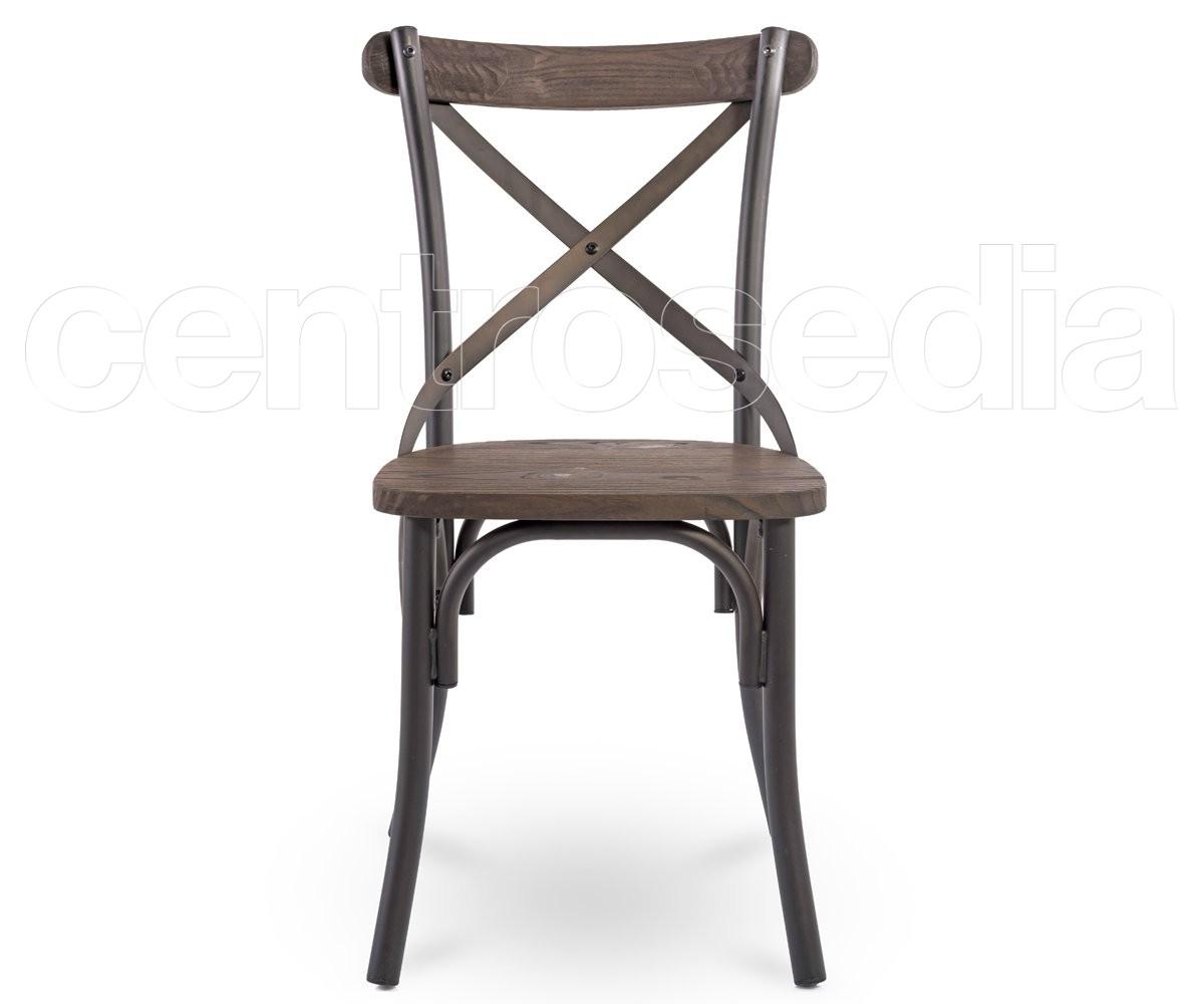 cross sedia metallo old style seduta legno sedie vintage