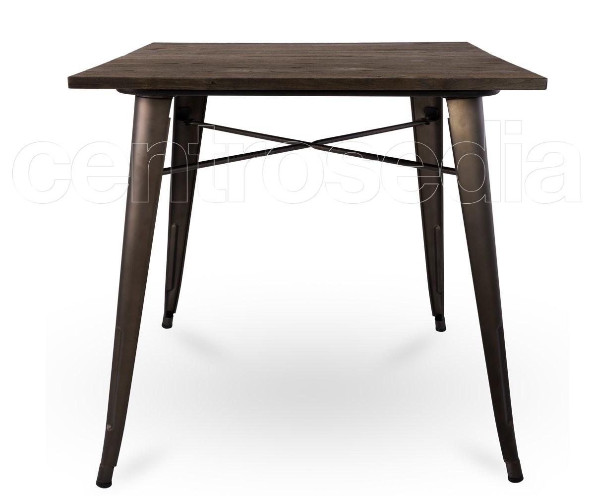 Ares tavolo metallo old style 80x80 cm piano legno for Tavolo cucina 4 posti