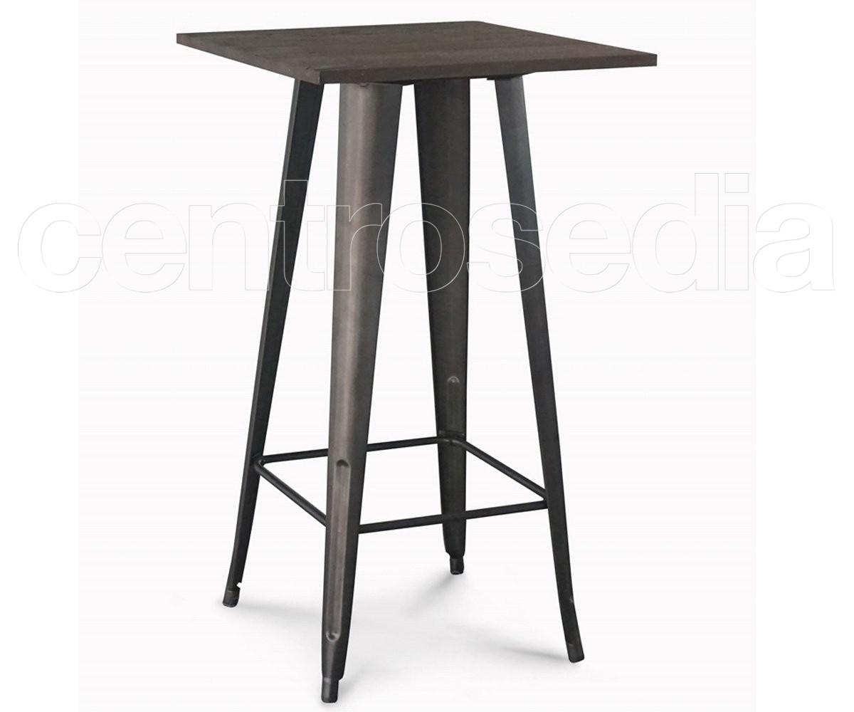 Ares tavolo alto metallo old style piano legno tavoli alti