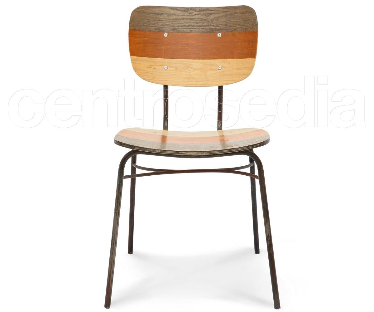 Olivier Sedia Metallo Legno - Colorata - Sedie Vintage e Industriali