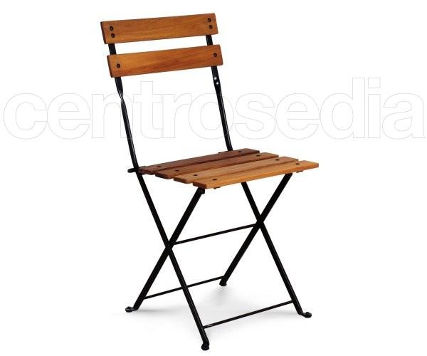 Country sedia pieghevole metallo doghe legno sedie pieghevoli for Sedie pieghevoli legno
