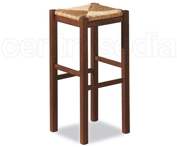 Rustico sgabello alto legno seduta paglia sgabelli legno