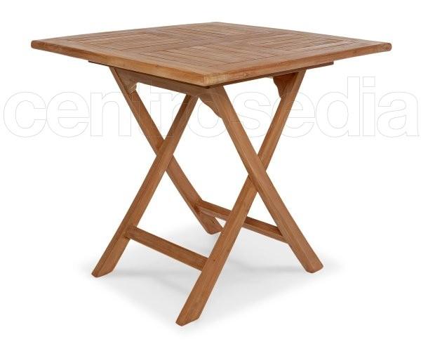 Ambon tavolo pieghevole quadrato in legno di teak tavoli legno teak for Tavolo in legno pieghevole