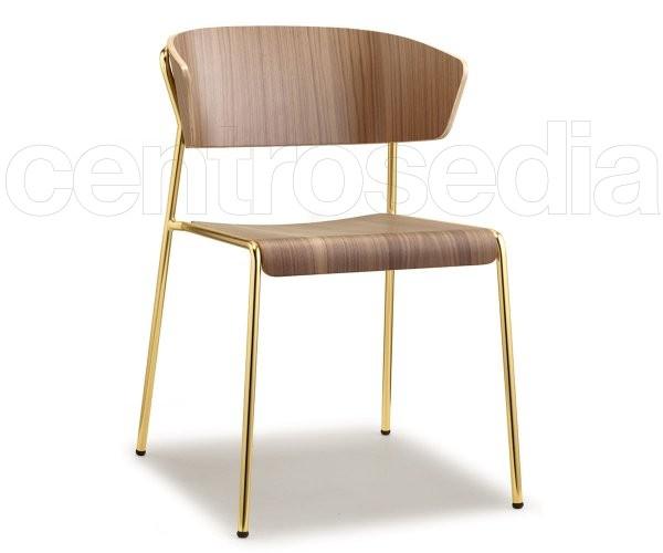 Lisa sedia acciaio seduta e schienale legno sedie design