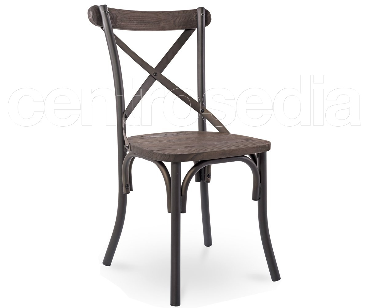 Cross sedia metallo old style seduta legno sedie for Sedie in ferro e legno