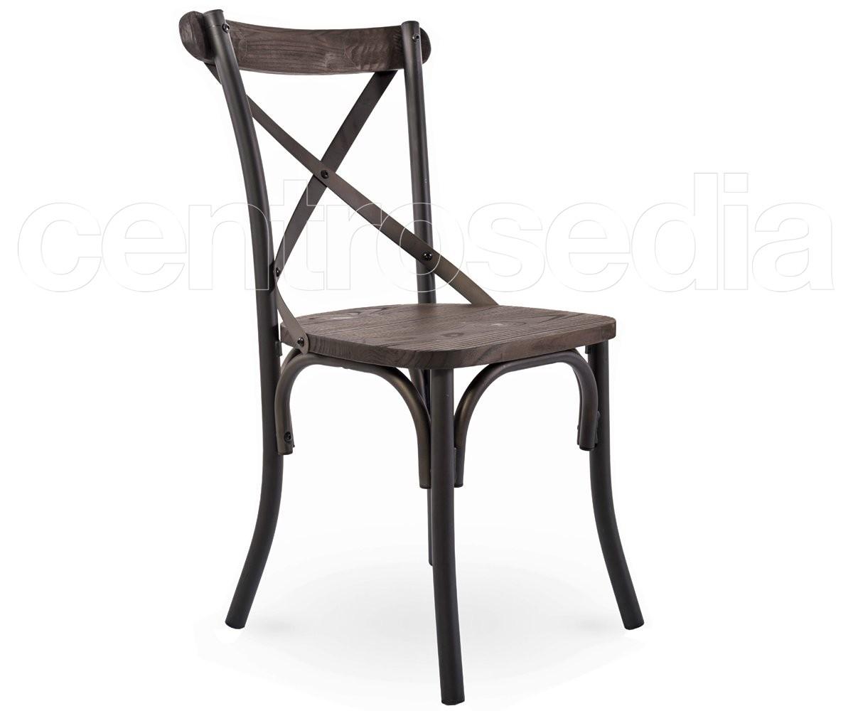 Cross Sedia Metallo Old Style - Seduta Legno - Sedie Vintage e ...