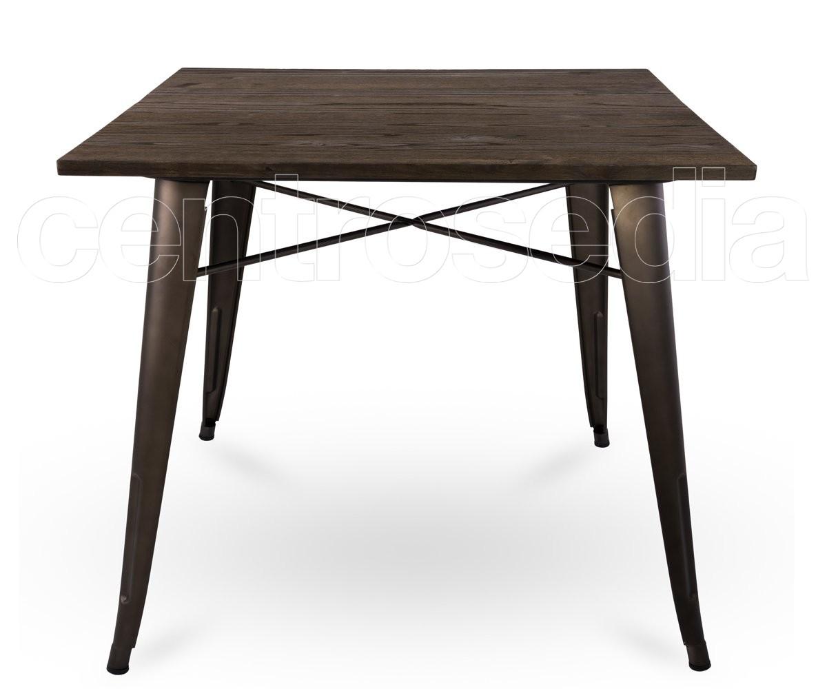 Ares tavolo metallo old style 80x80 cm piano legno - Tavolo richiudibile in legno ...