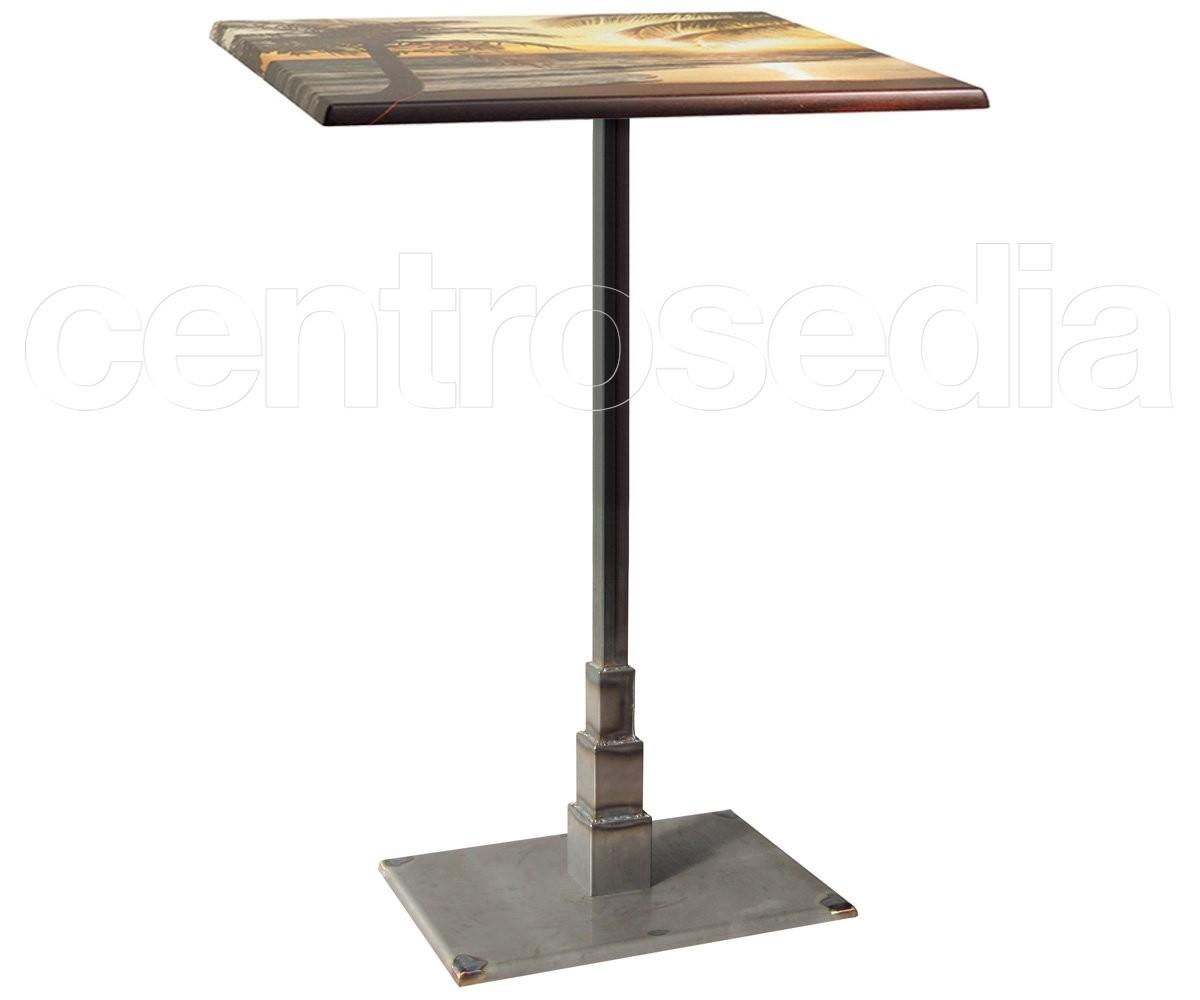 stone tavolo alto ghisa base rettangolare tavoli vintage