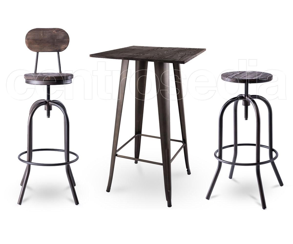 Tavoli Alti Legno : Ares tavolo alto metallo old style piano legno tavoli alti