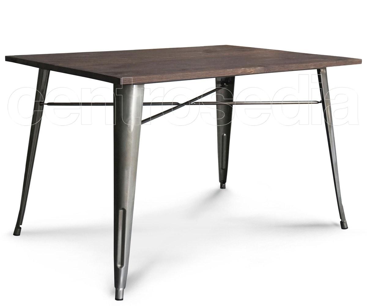 Ares tavolo metallo old style 120x80 cm piano legno for Tavolo 120x80