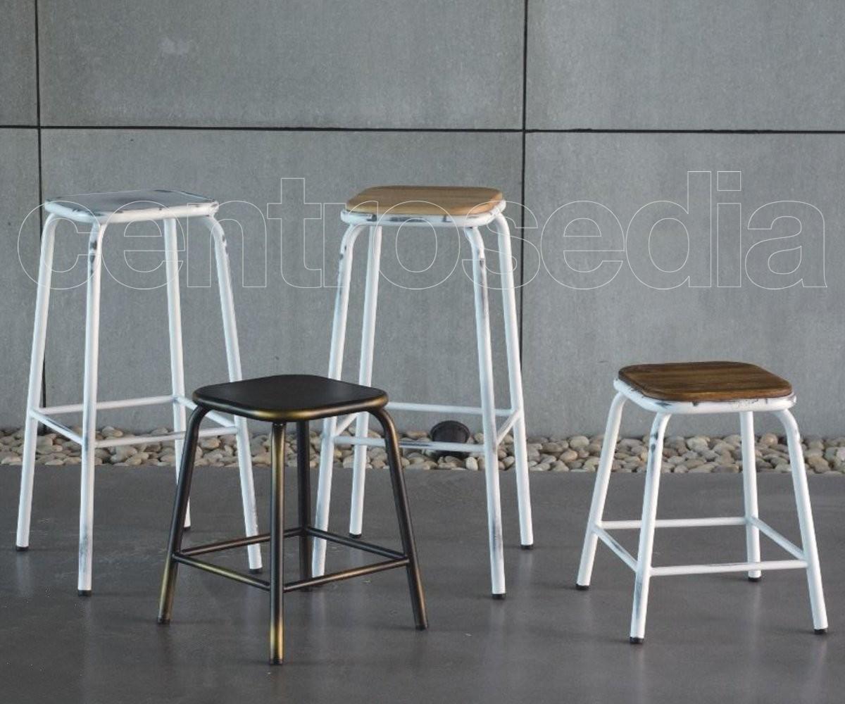 College sgabello basso metallo seduta legno sgabelli