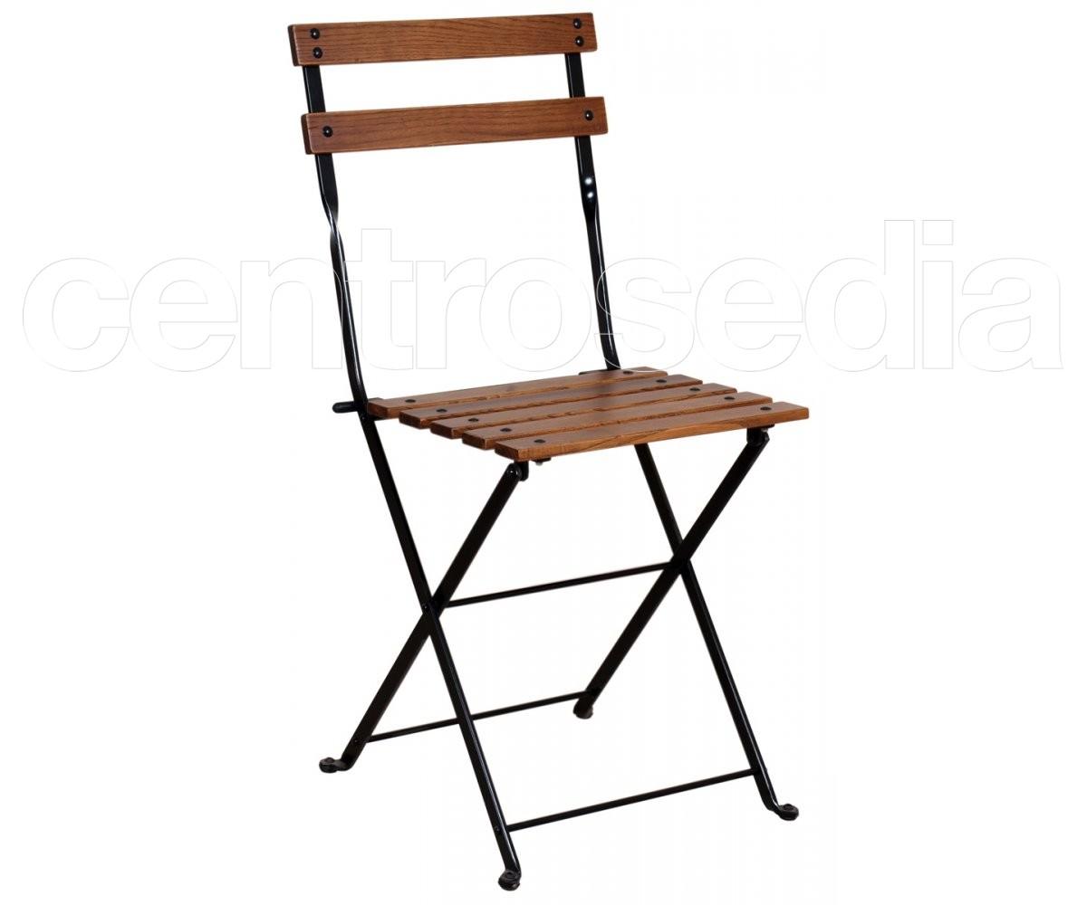 Country sedia pieghevole metallo doghe legno sedie for Sedie in ferro e legno