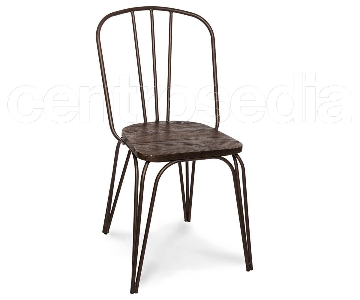 Sedie In Ferro E Legno.Dakota Sedia Metallo Old Style Seduta Legno Sedie Vintage E