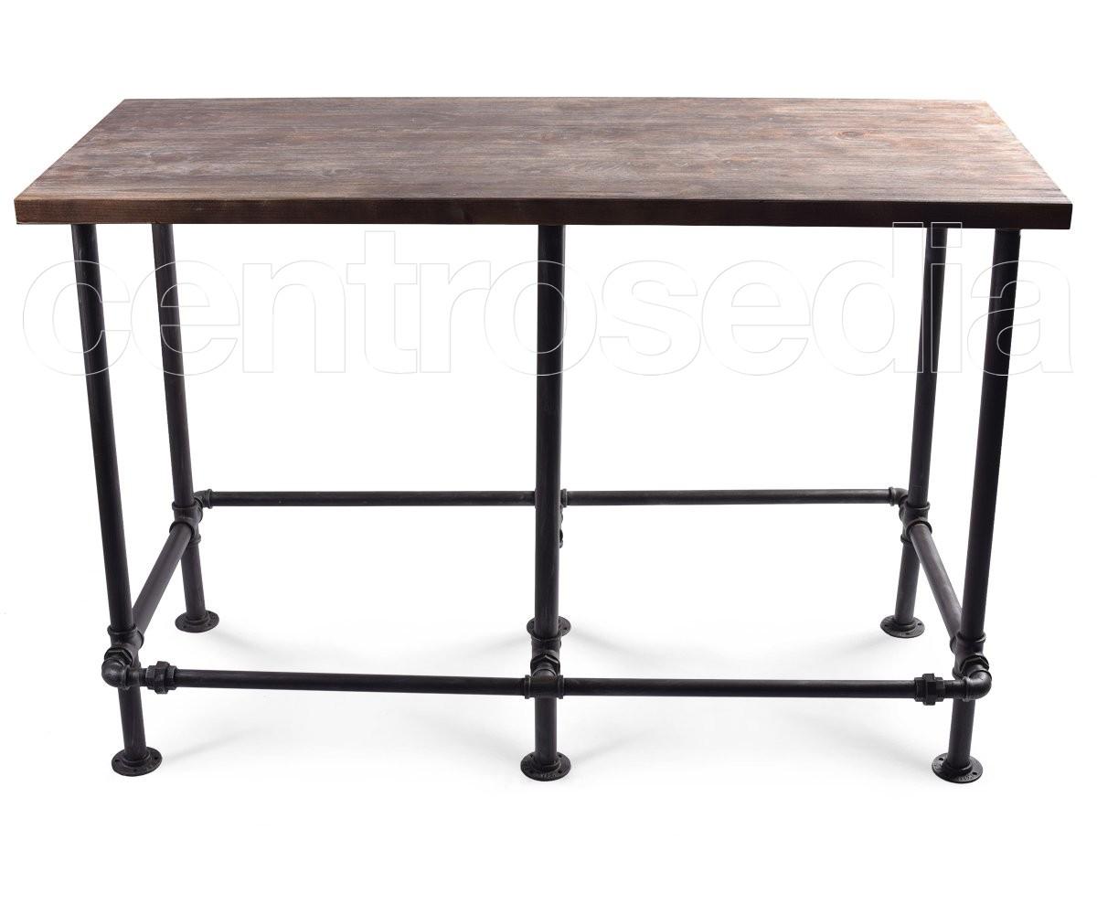 Madison tavolo alto metallo piano legno tavoli alti for Tavolo alto usato