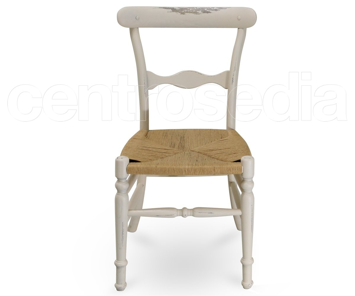 """Housse De Canapé Shabby Chic campanina"""" shabby wooden chair - straw seat - sièges shabby chic"""