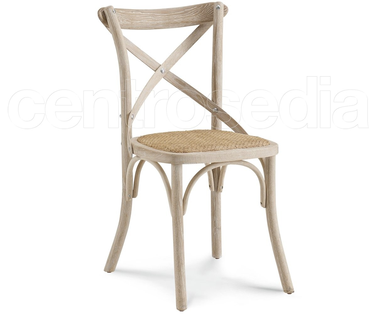 Cross sedia legno seduta rattan sedie shabby chic for Sedie design vintage