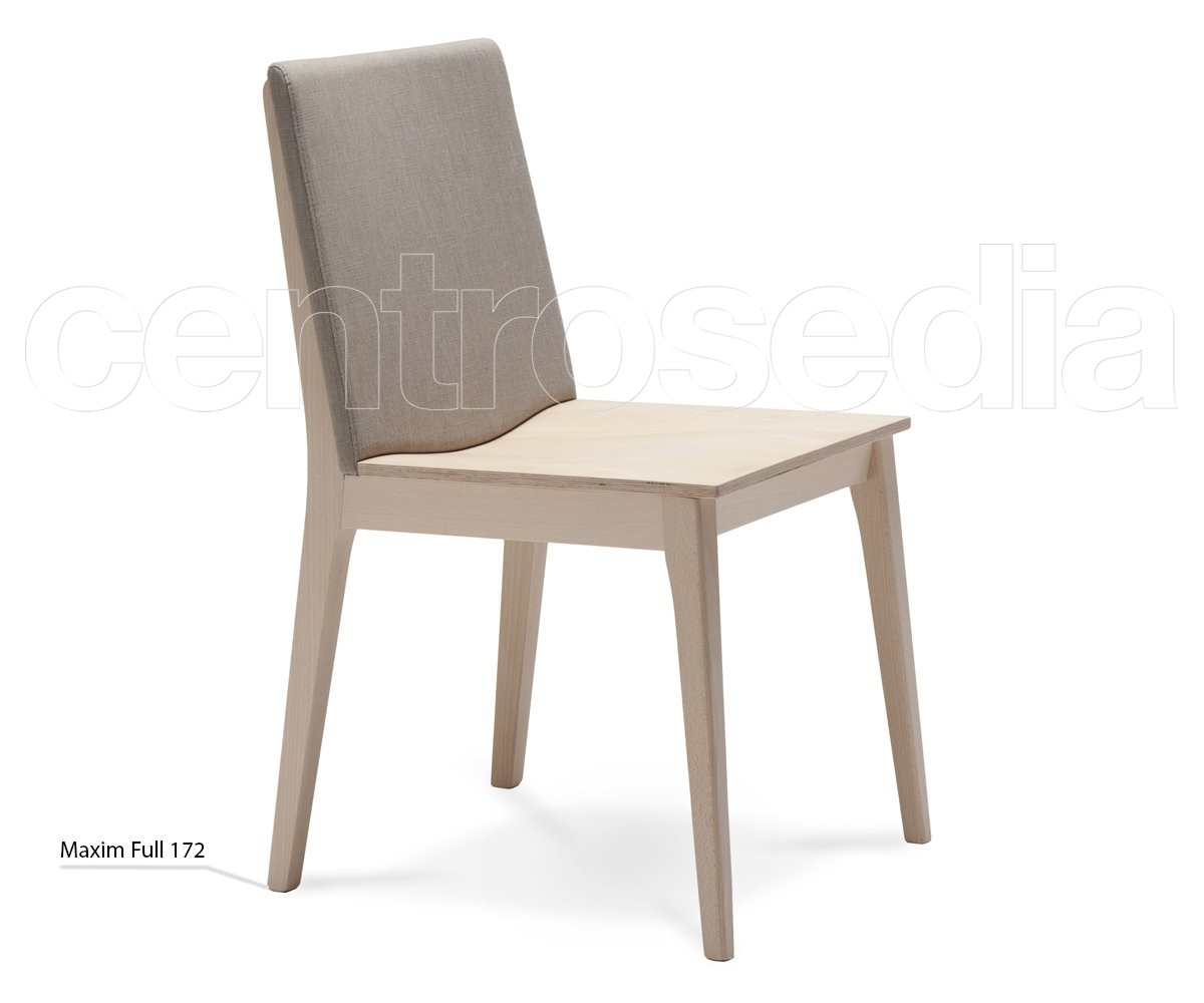 Maxim Full Sedia Legno - Schienale imbottito - Sedie Design Legno