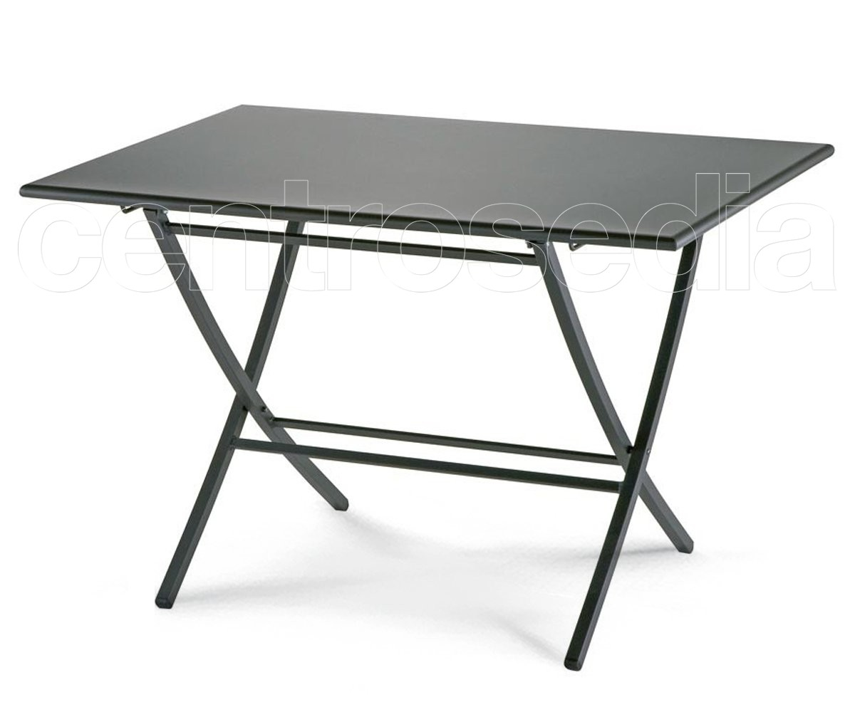 Raffaello tavolo pieghevole acciaio tavoli alluminio metallo for Tavolo pieghevole design