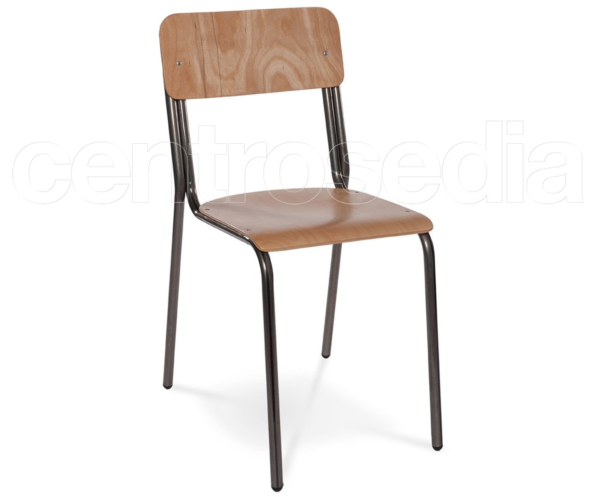 Studio sedia legno sedie vintage e industriali for Sedia studio