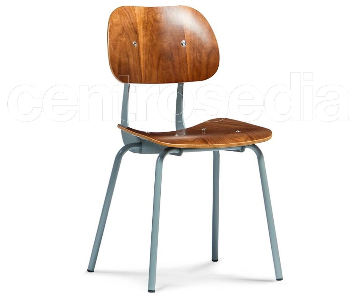 Midori sedia metallo legno sedie vintage e industriali for Sedie design metallo