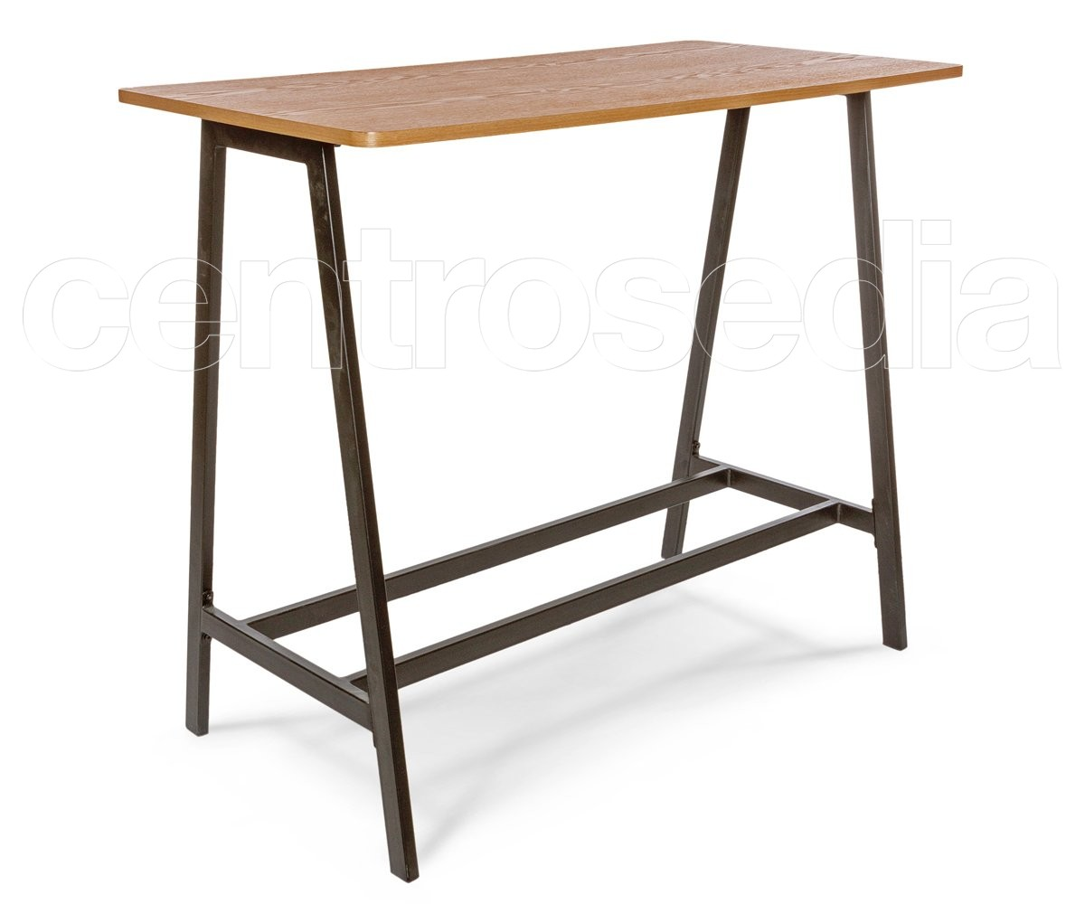 marlon tavolo alto metallo legno tavoli vintage e