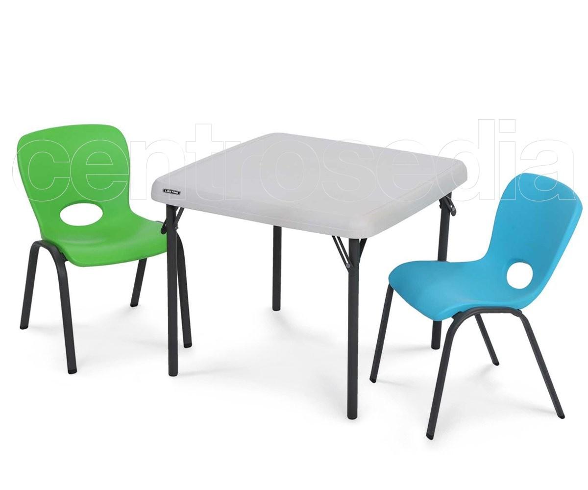 Tavolino Pieghevole Bambini.Lifetime 80425 Tavolo Pieghevole Bambini 61x61cm Tavoli