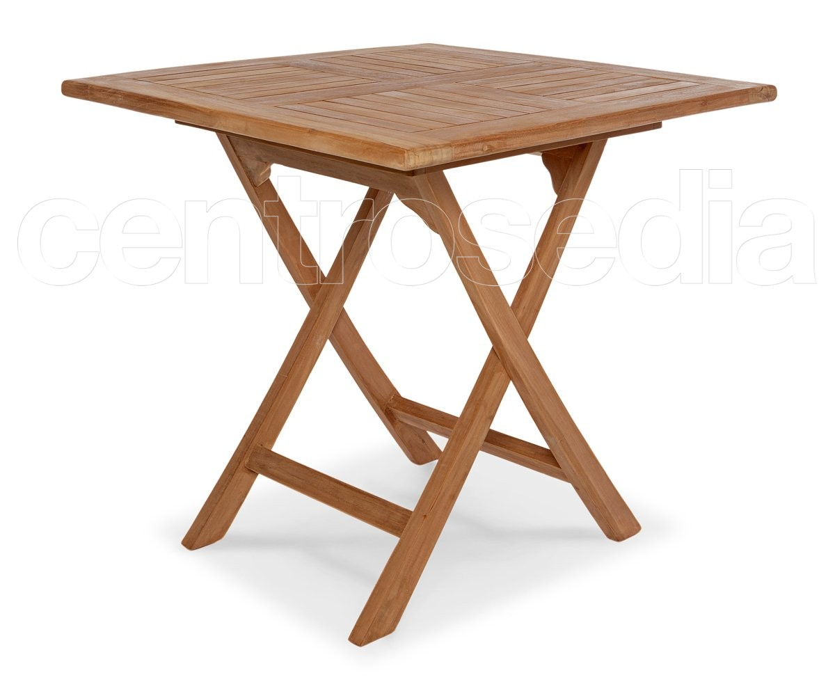 Ambon tavolo pieghevole quadrato in legno di teak tavoli for Tavolo legno teak