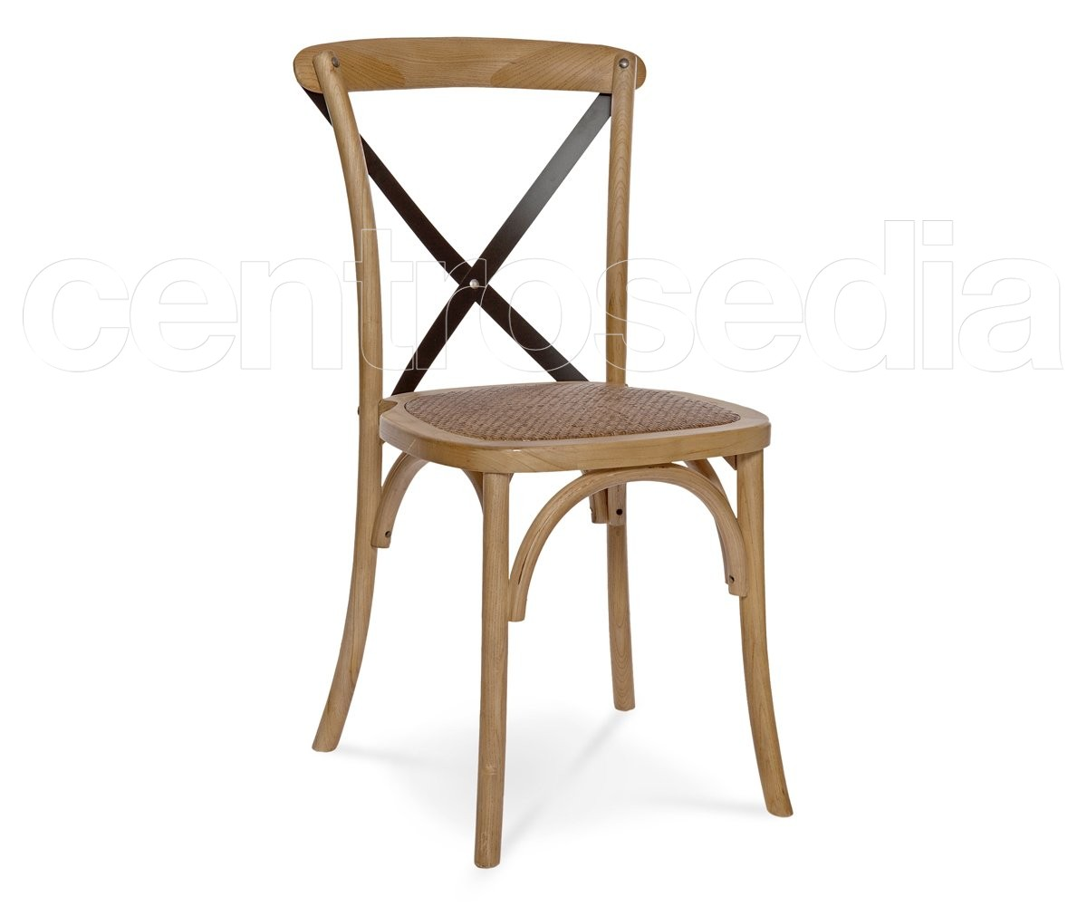 Cross sedia legno seduta rattan stecche metallo sedie legno