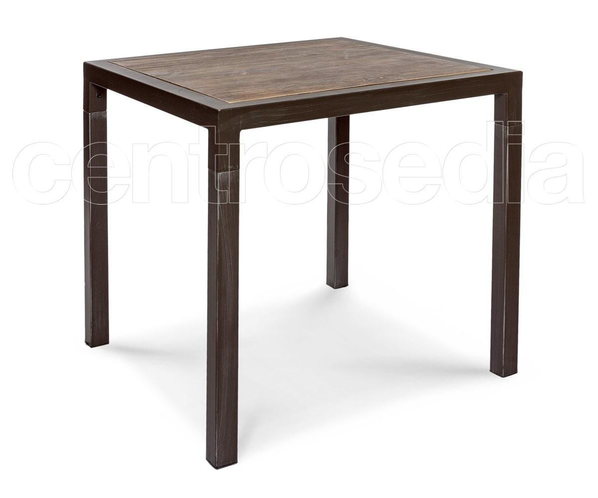 Tavolo Industriale Quadrato : Connor tavolo metallo quadrato piano legno tavoli vintage e