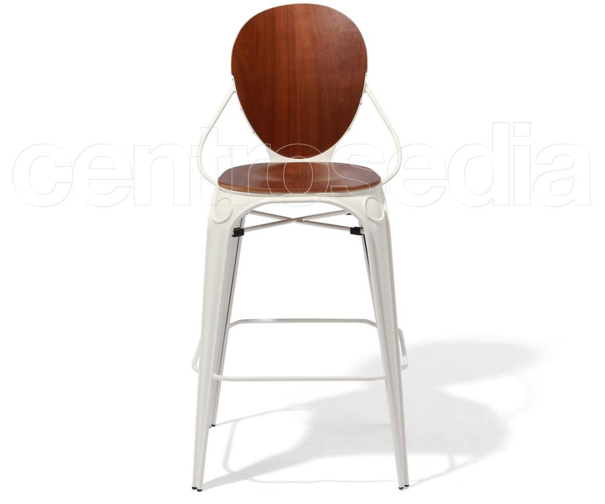 Mascha sgabello metallo seduta e schienale legno sgabelli